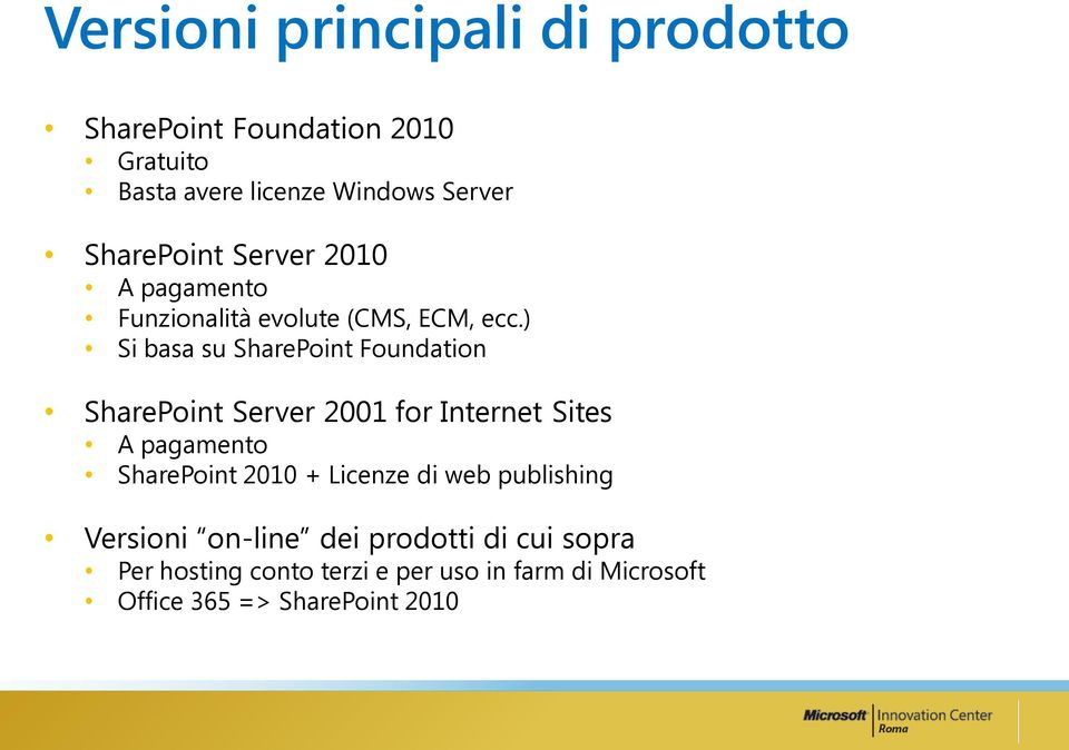 ) Si basa su SharePoint Foundation SharePoint Server 2001 for Internet Sites A pagamento SharePoint 2010 +