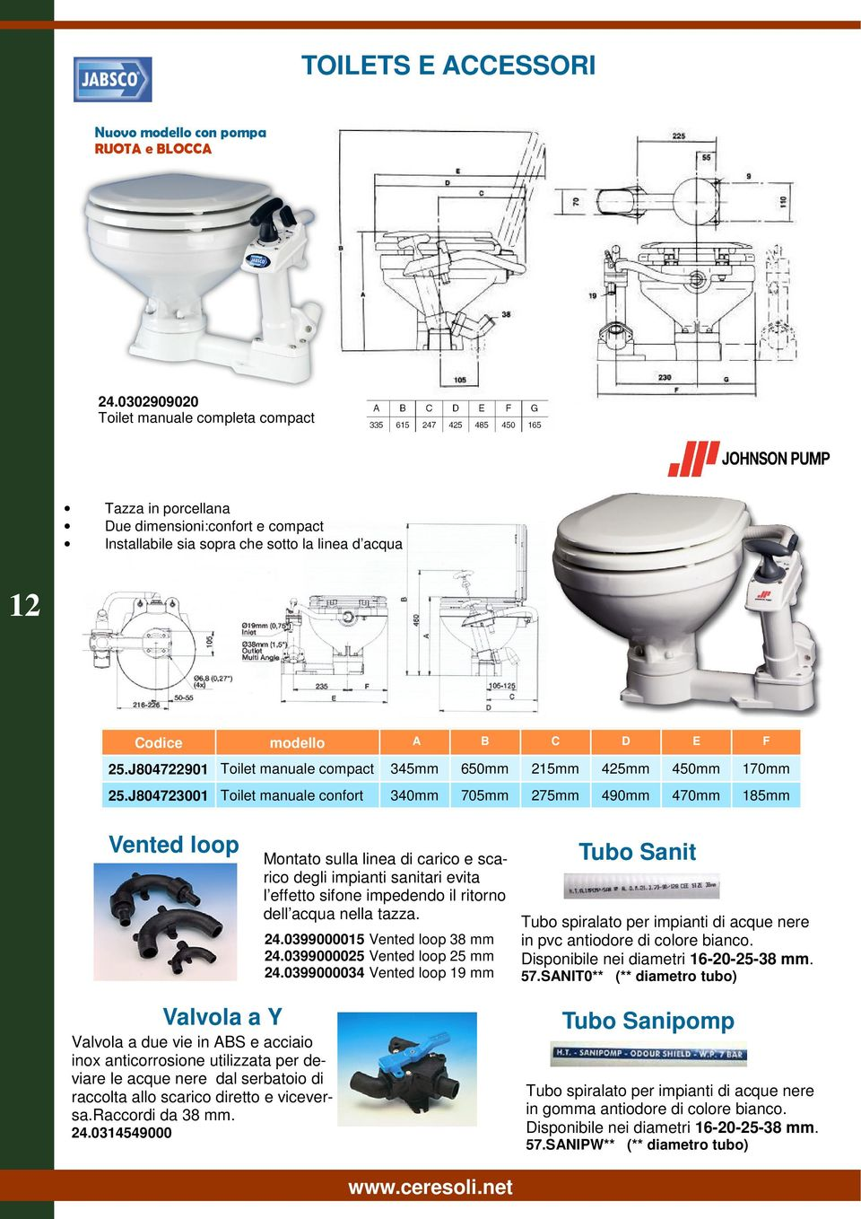 J804722901 Toilet manuale compact 345mm 650mm 215mm 425mm 25.