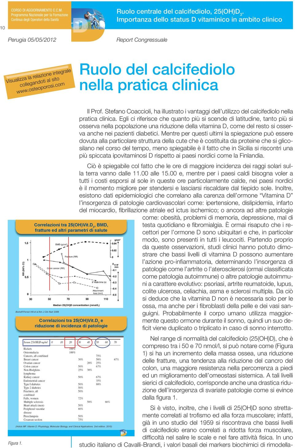 Correlazioni tra 25(OH)Vit e riduzione di incidenza di patologie (Holick MF Vitamin D: Physiology, Molecular Biology, and Clinical Applications 2nd edition, 2010) Il Prof Stefano Coaccioli, ha