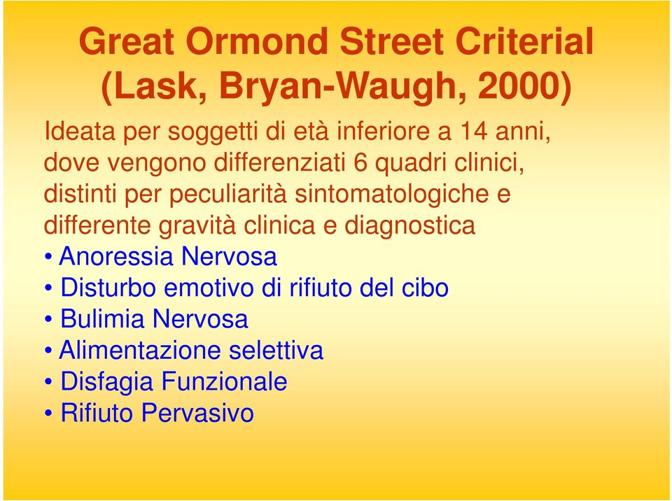 sintomatologiche e differente gravità clinica e diagnostica Anoressia Nervosa Disturbo