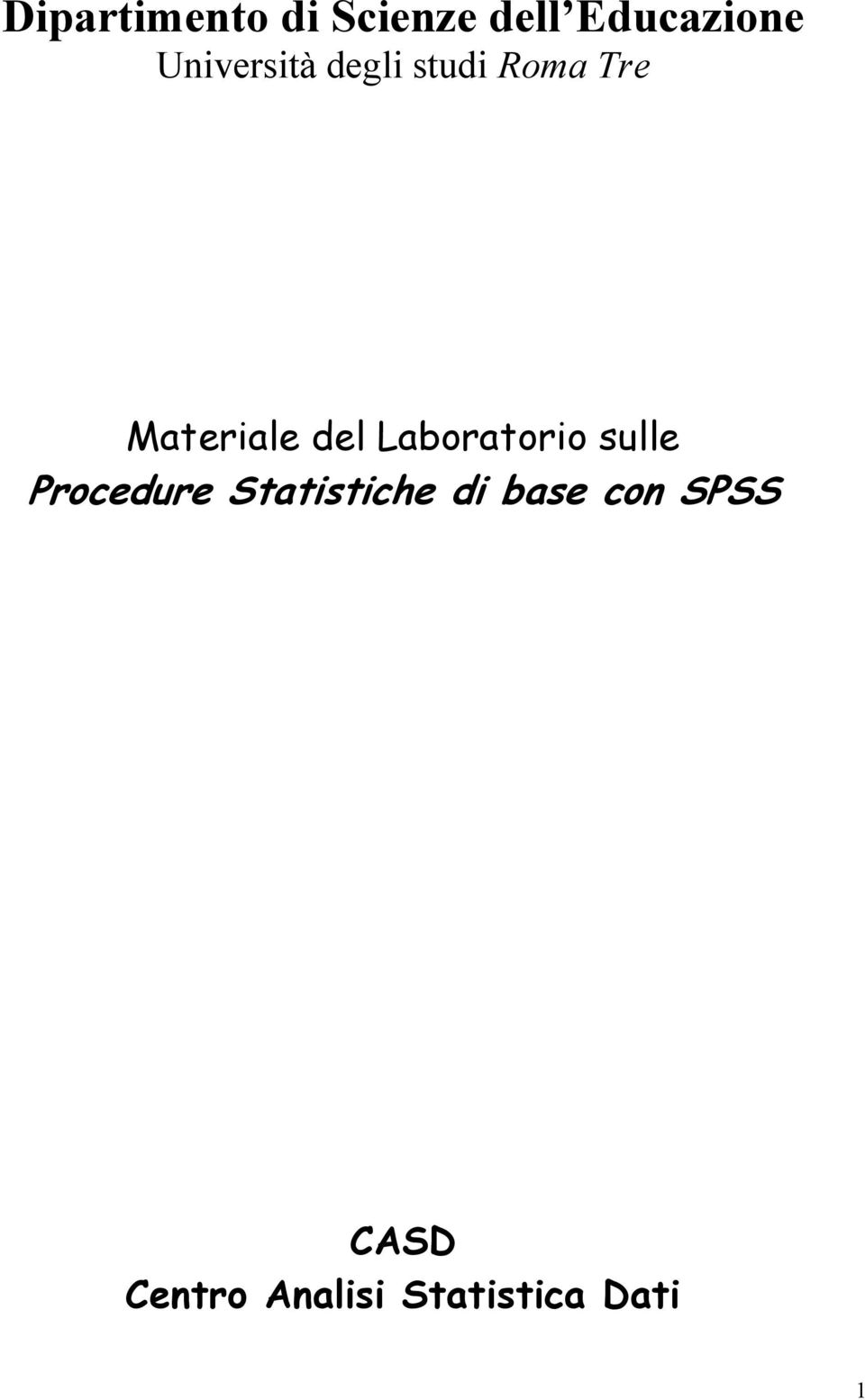 del Laboratorio sulle Procedure Statistiche