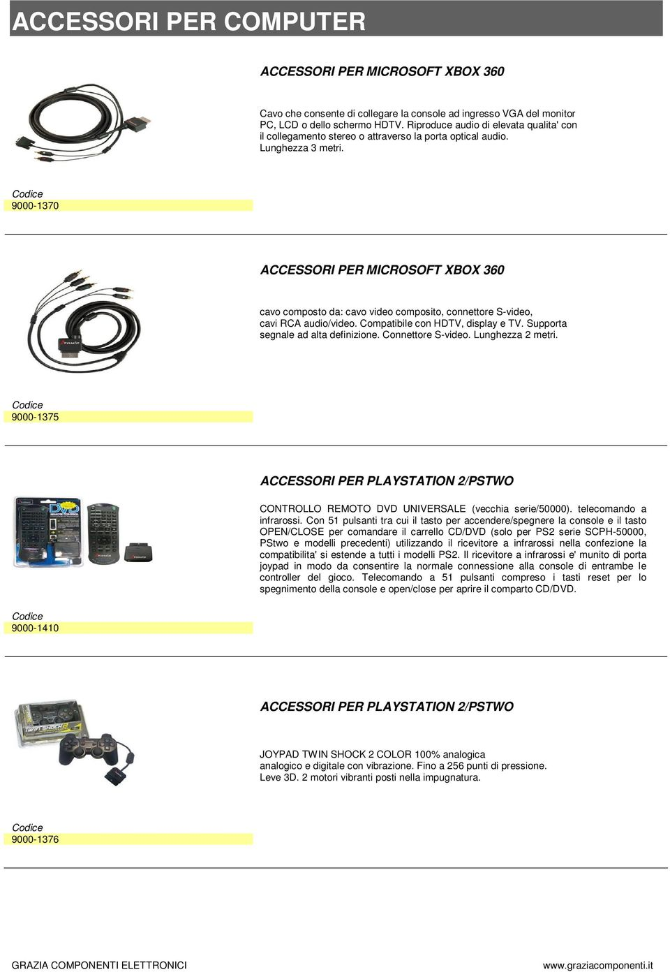 9000-1370 ACCESSORI PER MICROSOFT XBOX 360 cavo composto da: cavo video composito, connettore S-video, cavi RCA audio/video. Compatibile con HDTV, display e TV. Supporta segnale ad alta definizione.