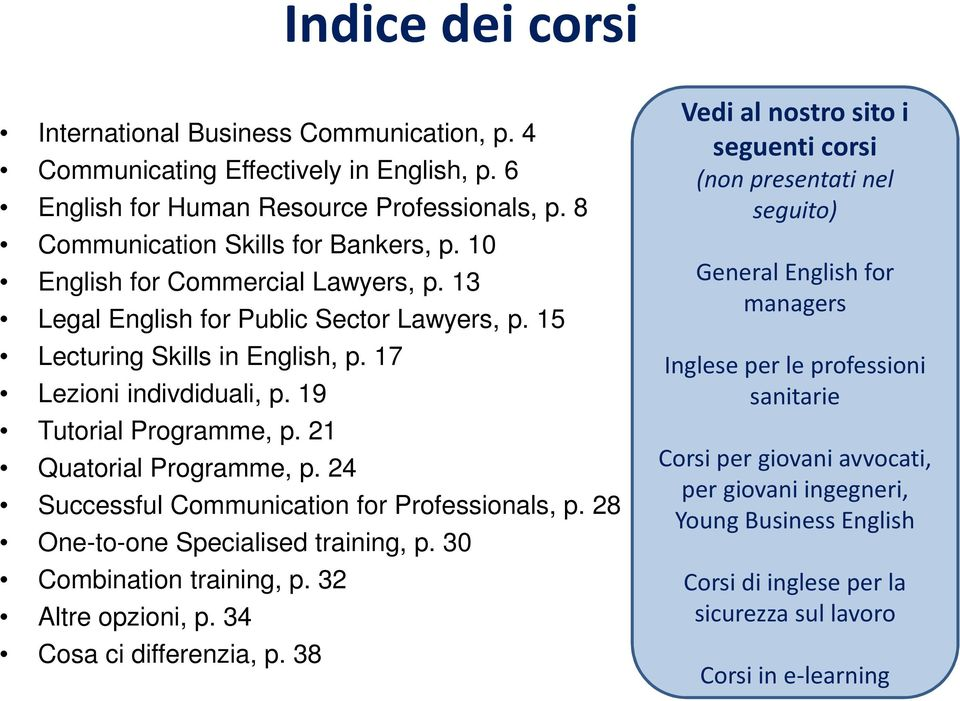 24 Successful Communication for Professionals, p. 28 One-to-one Specialised training, p. 30 Combination training, p. 32 Altre opzioni, p. 34 Cosa ci differenzia, p.