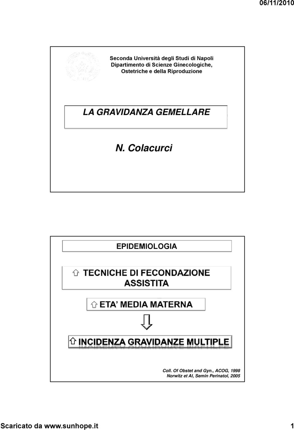 GEMELLARE N. Colacurci EPIDEMIOLOGIA Coll. Of Obstet and Gyn.