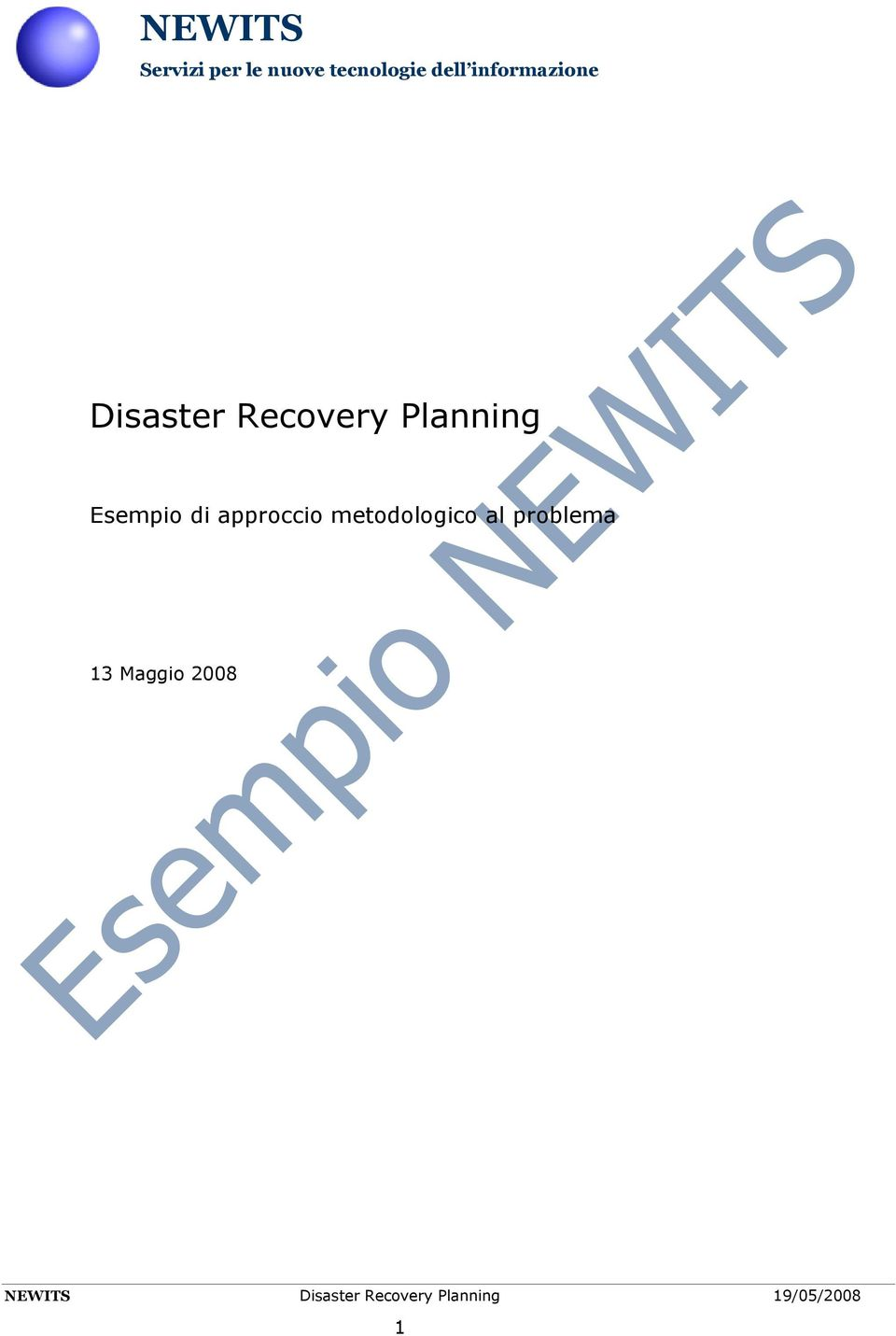 Disaster Recovery Planning Esempio