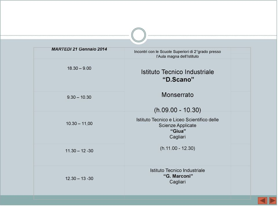 Istituto Tecnico Industriale D.Scano Monserrato (h.09.00-10.