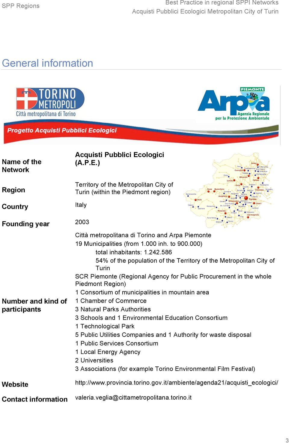 ) Region Territory of the Metropolitan City of Turin (within the Piedmont region) Country Italy Founding year 2003 Number and kind of participants Città metropolitana di Torino and Arpa Piemonte 19
