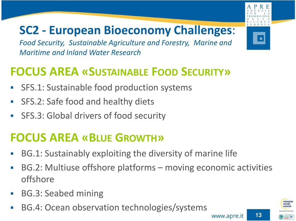 2: Safe food and healthy diets SFS.3: Global drivers of food security FOCUS AREA «BLUE GROWTH» BG.