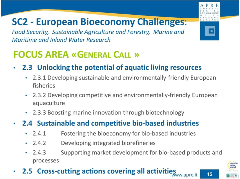 3.3 Boosting marine innovation through biotechnology 2.4 Sustainable and competitive bio-based industries 2.4.1 Fostering the bioeconomy for bio-based industries 2.4.2 Developing integrated biorefineries 2.