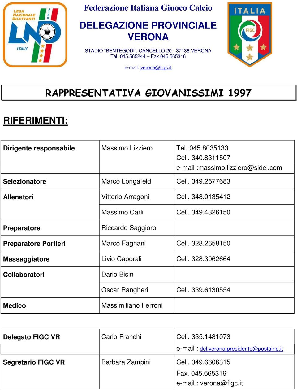 328.2658150 Massaggiatore Livio Caporali Cell. 328.3062664 Collaboratori Dario Bisin Oscar Rangheri Cell. 339.