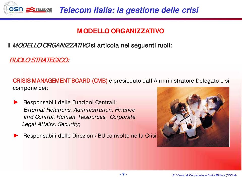 Responsabili delle Funzioni Centrali: External Relations, Administration, Finance and Control,
