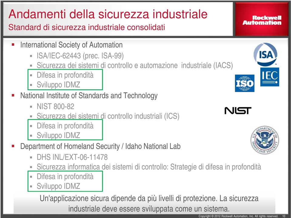 dei sistemi di controllo industriali (ICS) Difesa in profondità Sviluppo IDMZ Department of Homeland Security / Idaho National Lab DHS INL/EXT-06-11478 Sicurezza informatica dei