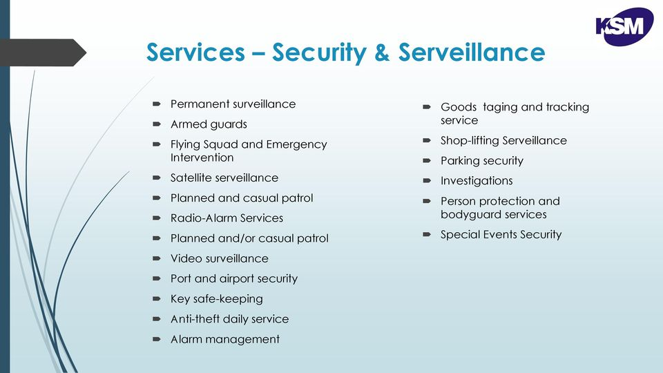 and casual patrol Radio-Alarm Services Planned and/or casual patrol Person protection and bodyguard services Special