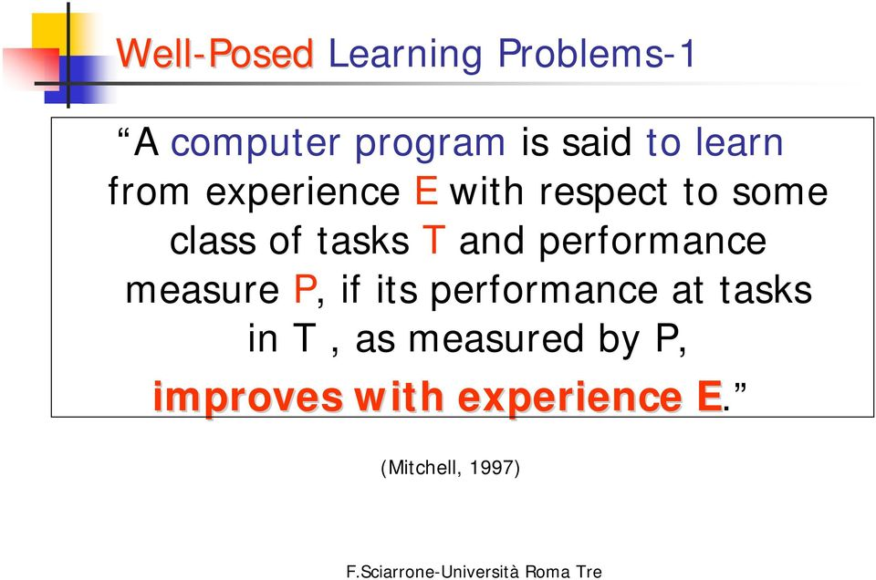 and performance measure P, if its performance at tasks in T,