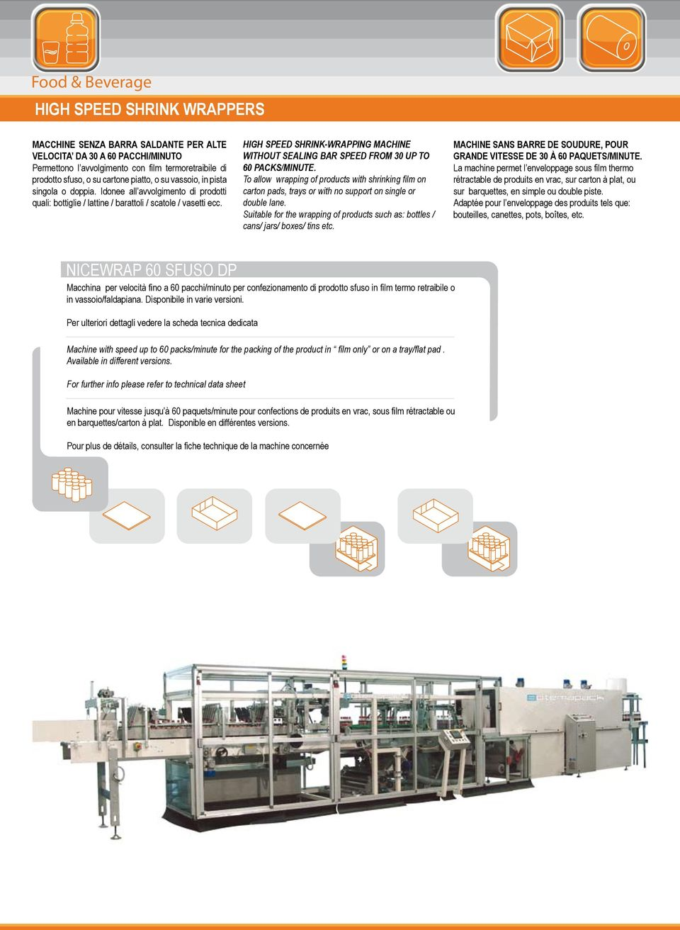 HIGH SPEED SHRINK-WRAPPING MACHINE WITHOUT SEALING BAR SPEED FROM 30 UP TO 60 PACKS/MINUTE.
