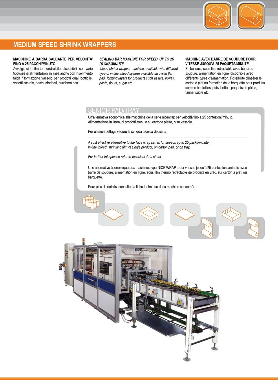 Infeed shrink wrapper machine, available with different type of in-line infeed system available also with flat pad, forming layers for products such as jars, boxes, pasta, flours, sugar etc.