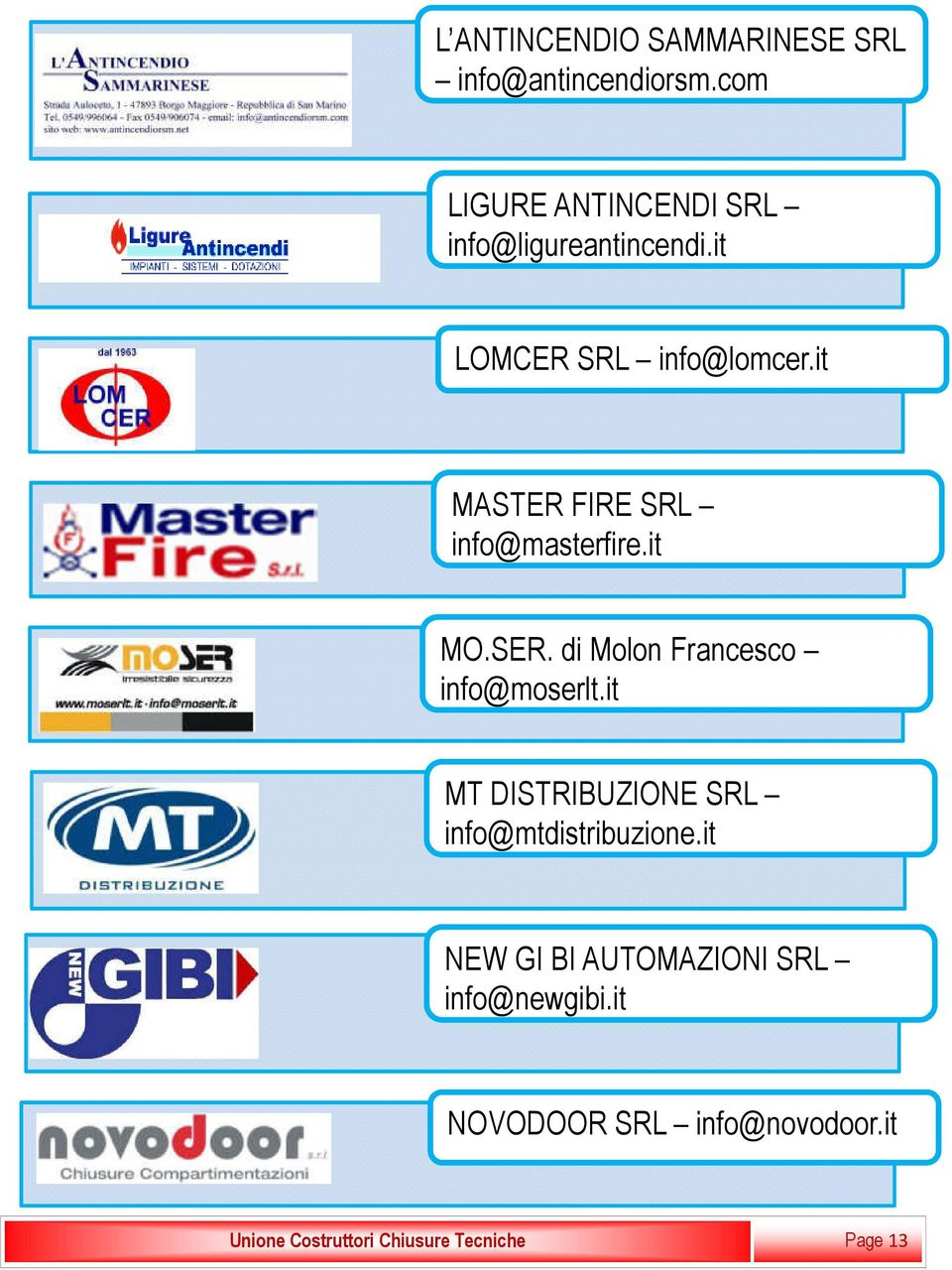 it MASTER FIRE SRL info@masterfire.it MO.SER. di Molon Francesco info@moserlt.