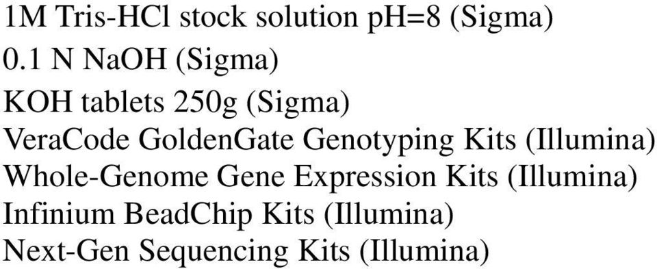 Genotyping Kits (Illumina) Whole-Genome Gene Expression Kits