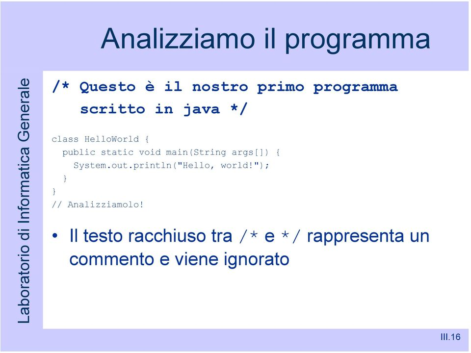 "args[]) { System.out.println(""Hello, world!""); // Analizziamolo!"