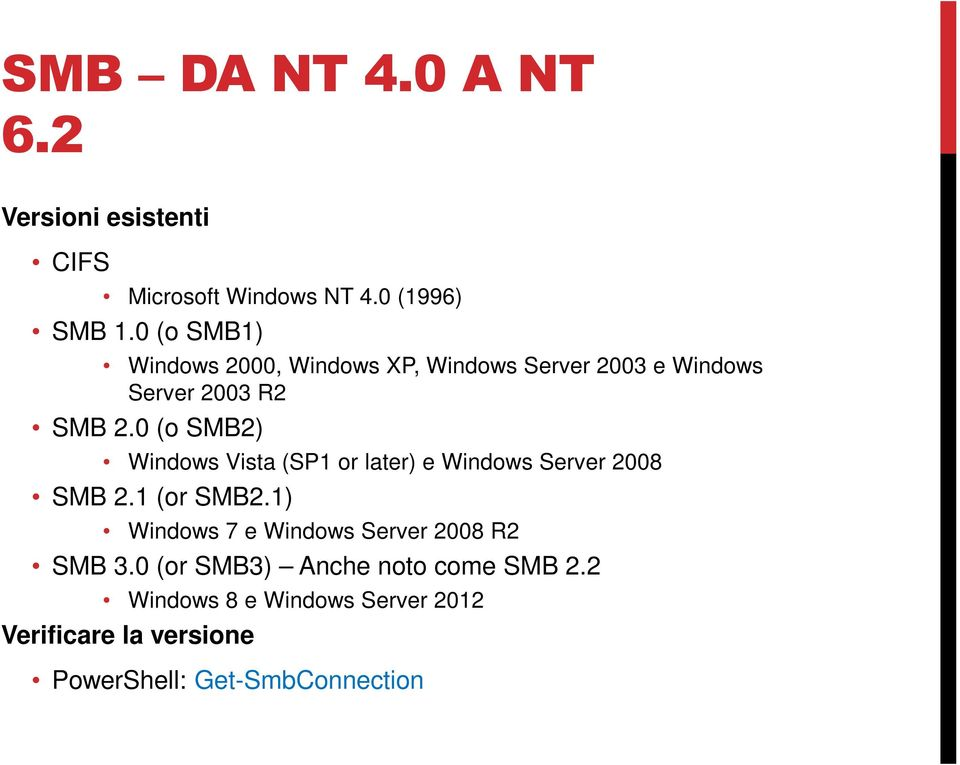 0 (o SMB2) Windows Vista (SP1 or later) e Windows Server 2008 SMB 2.1 (or SMB2.