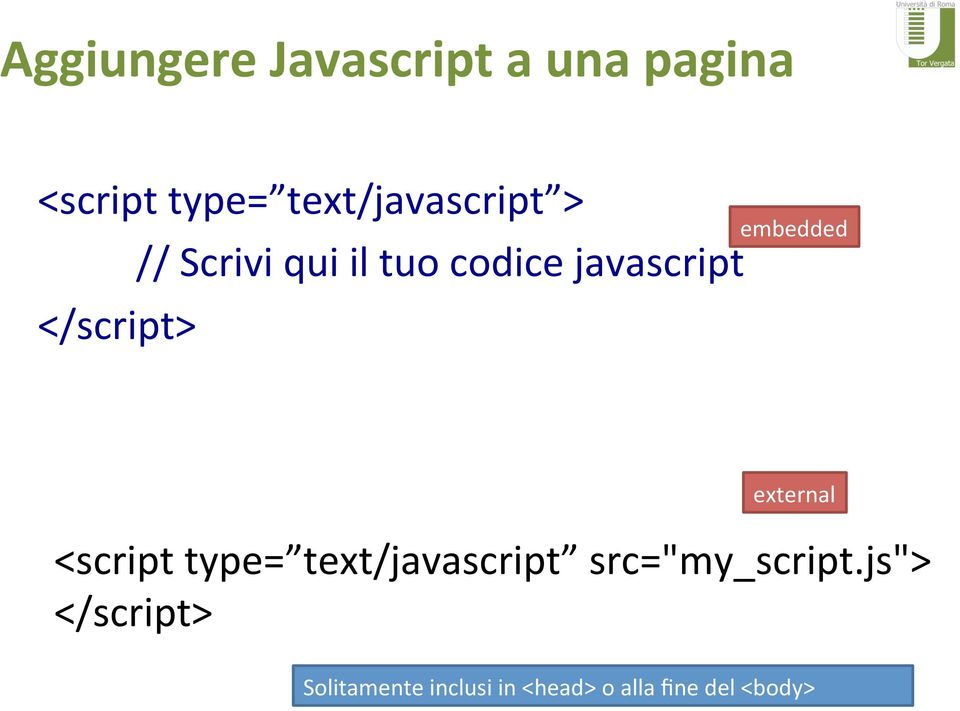 '//'Scrivi'qui'il'tuo'codice'javascript' embedded' external'