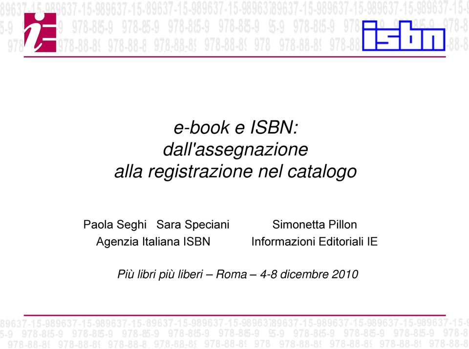 Italiana ISBN Simonetta Pillon Informazioni