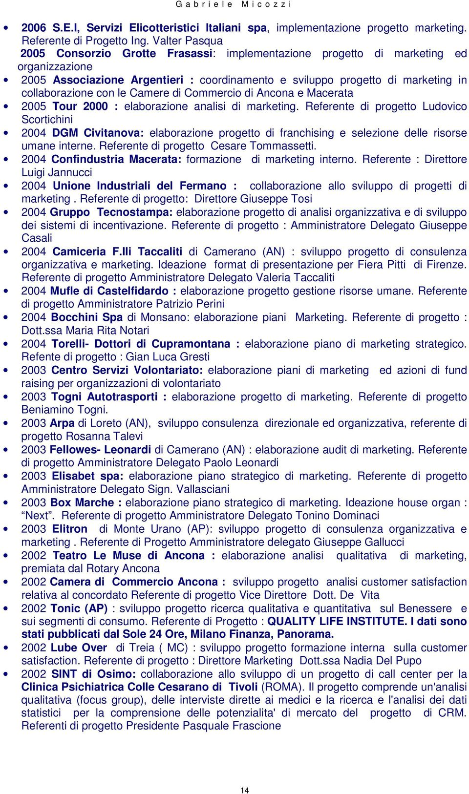 con le Camere di Commercio di Ancona e Macerata 2005 Tour 2000 : elaborazione analisi di marketing.