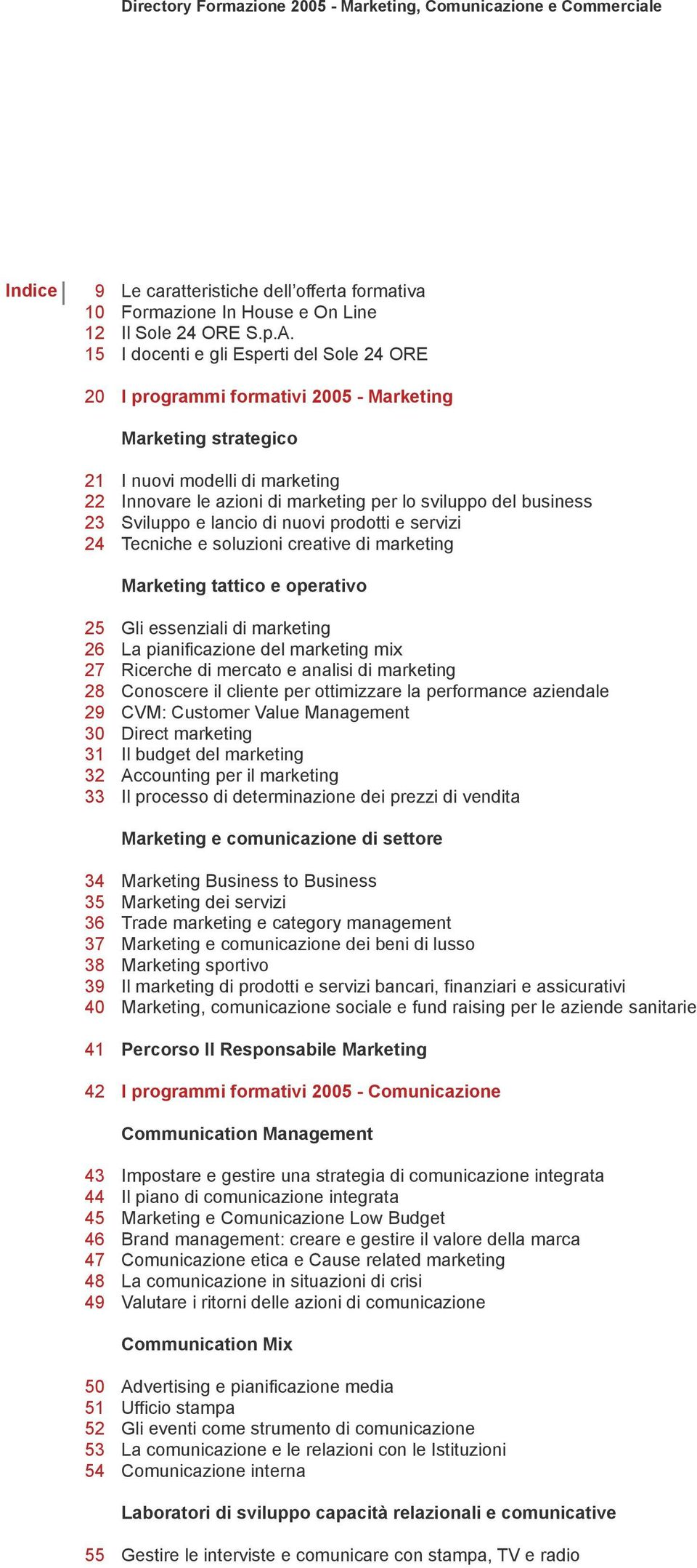 I docenti e gli Esperti del Sole 24 ORE I programmi formativi 2005 - Marketing Marketing strategico I nuovi modelli di marketing Innovare le azioni di marketing per lo sviluppo del business Sviluppo