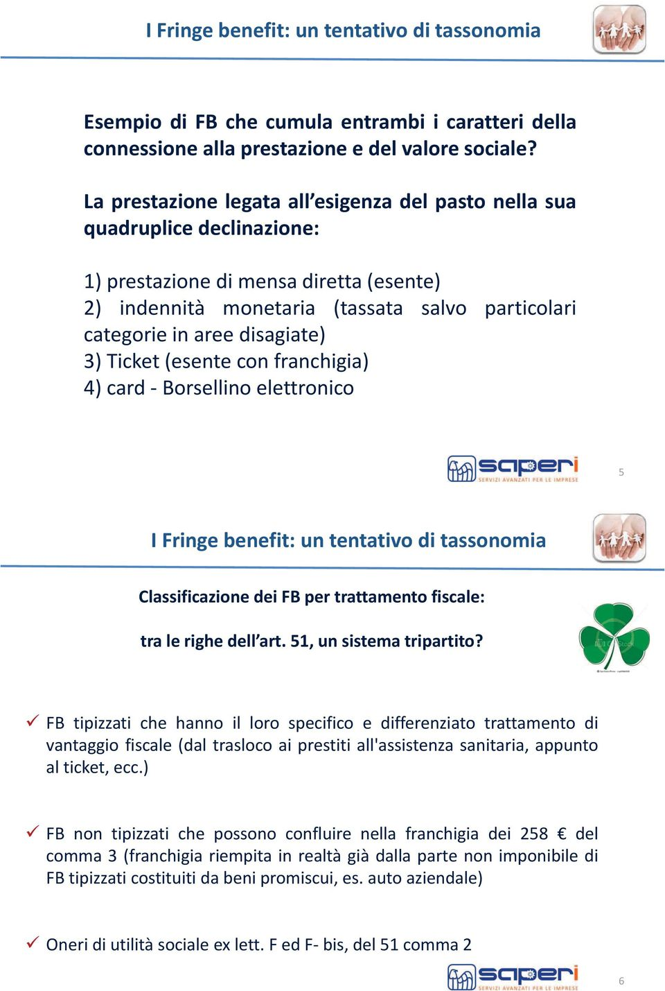 disagiate) 3) Ticket (esente con franchigia) 4) card - Borsellino elettronico 5 I Fringe benefit: un tentativo di tassonomia Classificazione dei FB per trattamento fiscale: tra le righe dell art.