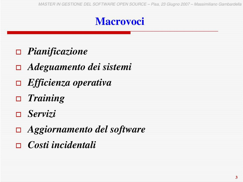 Efficienza operativa Training