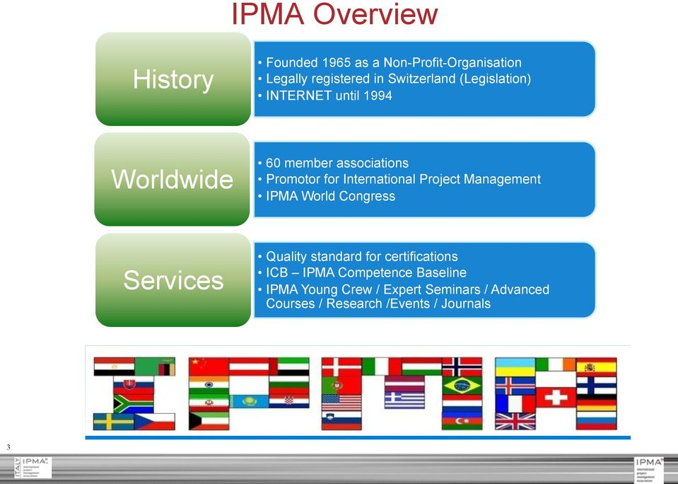 Project Management IPMA World Congress Services Quality standard for certifications ICB IPMA