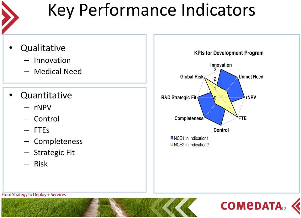 Risk R&D Strategic Fit Completeness NCE1 in Indication1 NCE2 in