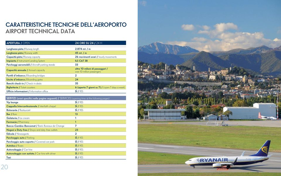 / m 26 movimenti orari / hourly movements ILS CAT 3B Capacità annuale / Annual capacity oltre 10 milioni di passeggeri / over 10 million passengers Pontili d imbarco / Boarding bridges 2 Uscite d