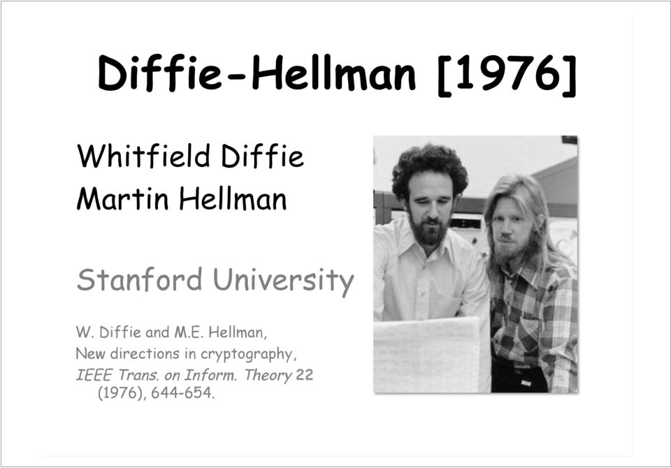 Hellman, New directions in cryptography, IEEE