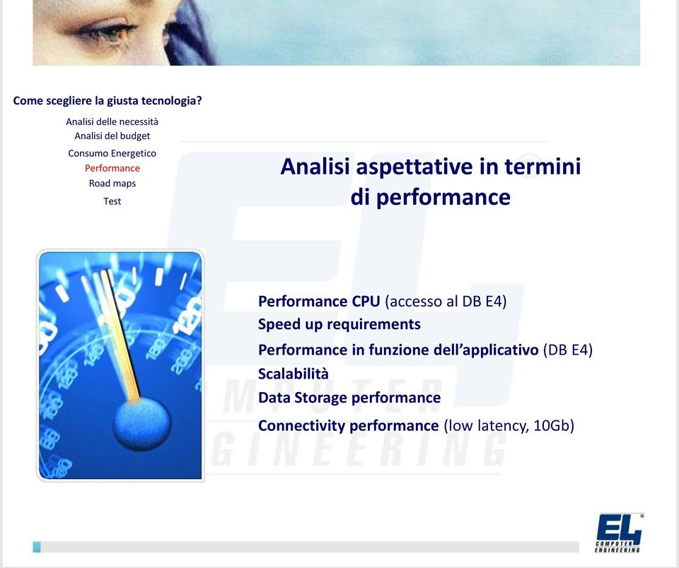 Analisi aspettative in termini di performance Performance CPU (accesso al DB E4) Speed up