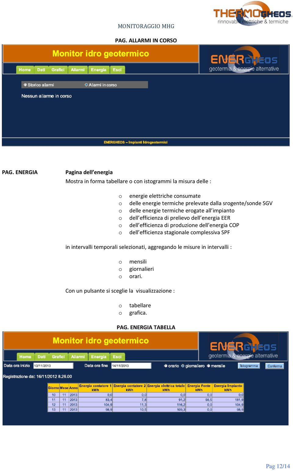 prelevate dalla srgente/snde SGV delle energie termiche ergate all impiant dell efficienza di preliev dell energia EER dell efficienza di