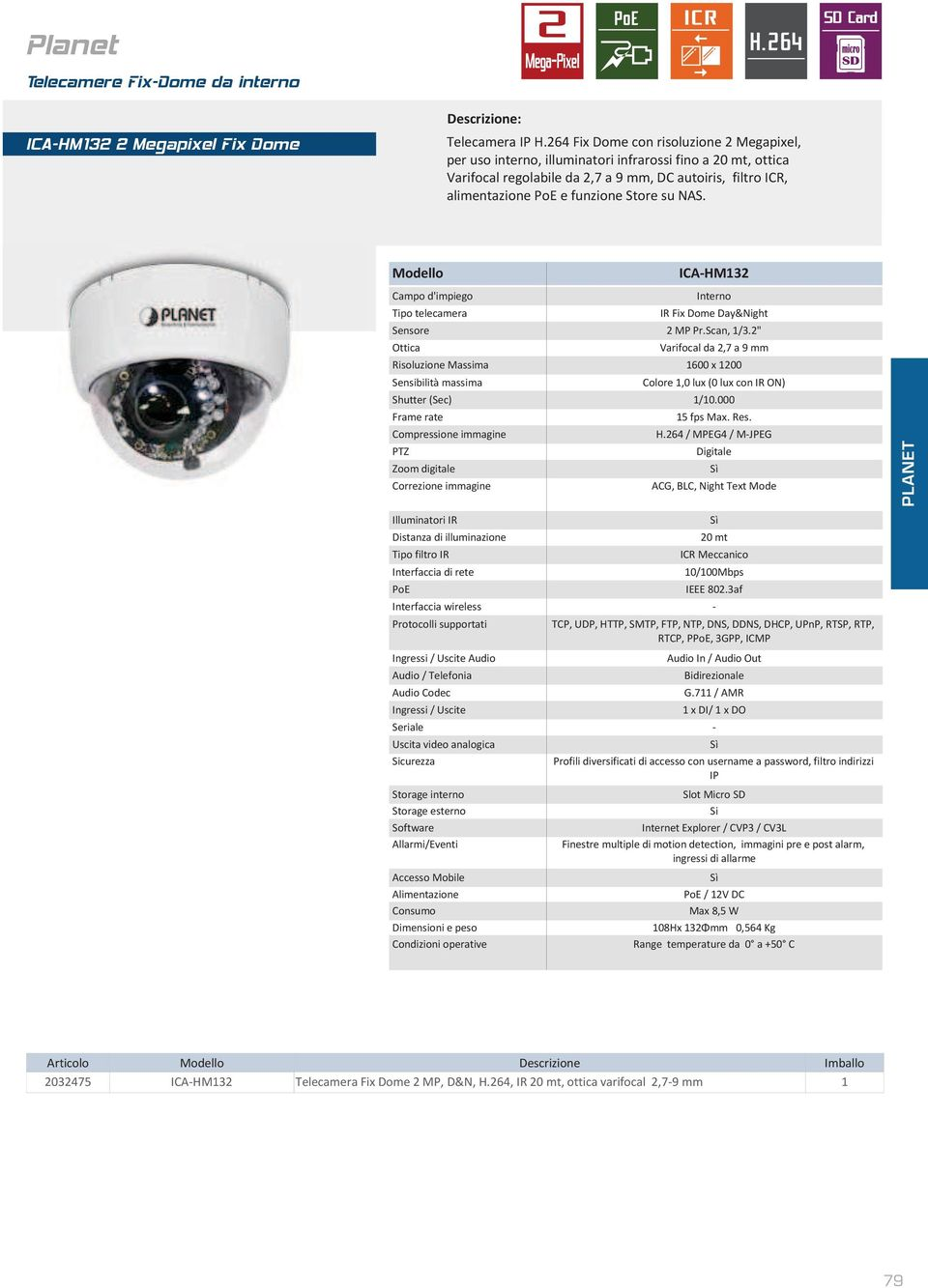 "su NAS. ICA-HM132 Interno IR Fix Dome Day&Night Sensore 2 MP Pr.Scan, 1/3.2"" Varifocal da 2,7 a 9 mm Risoluzione Massima 1600 x 1200 Colore 1,0 lux (0 lux con IR ON) 15 fps Max. Res."