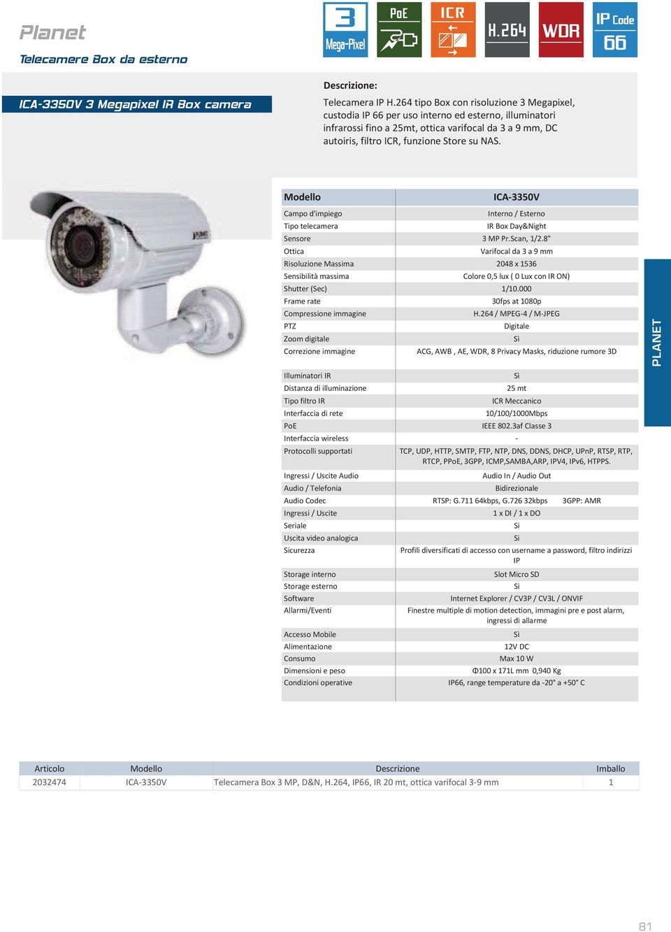 "ICA-3350V Interno / Esterno IR Box Day&Night Sensore 3 MP Pr.Scan, 1/2.8"" Varifocal da 3 a 9 mm Risoluzione Massima 2048 x 1536 Colore 0,5 lux ( 0 Lux con IR ON) 30fps at 1080p H."