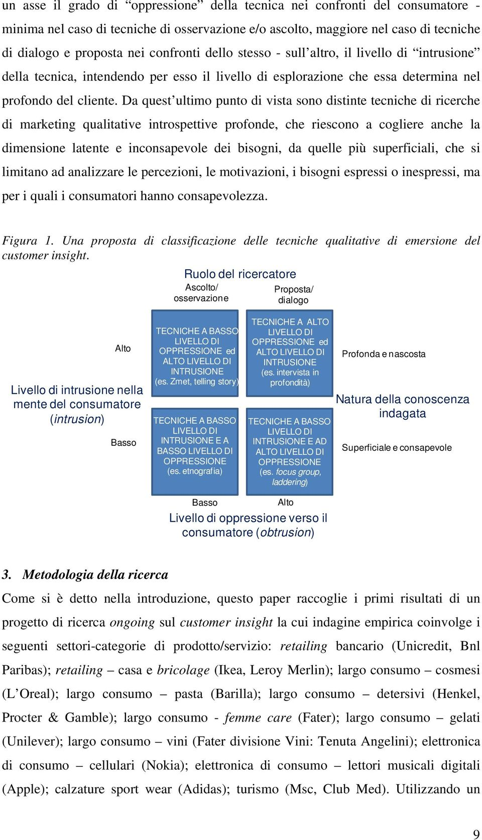 Da quest ultimo punto di vista sono distinte tecniche di ricerche di marketing qualitative introspettive profonde, che riescono a cogliere anche la dimensione latente e inconsapevole dei bisogni, da