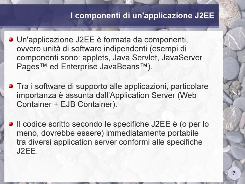 Tra i software di supporto alle applicazioni, particolare importanza è assunta dall'application Server (Web Container + EJB