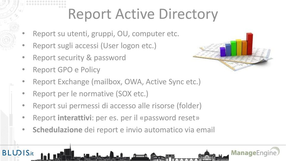 ) Report security & password Report GPO e Policy Report Exchange (mailbox, OWA, Active Sync etc.