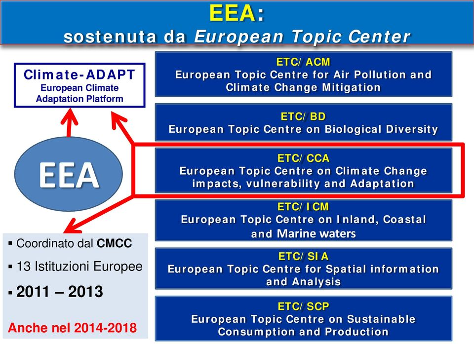 Diversity ETC/CCA European Topic Centre on Climate Change impacts, vulnerability and Adaptation ETC/ICM European Topic Centre on Inland, Coastal
