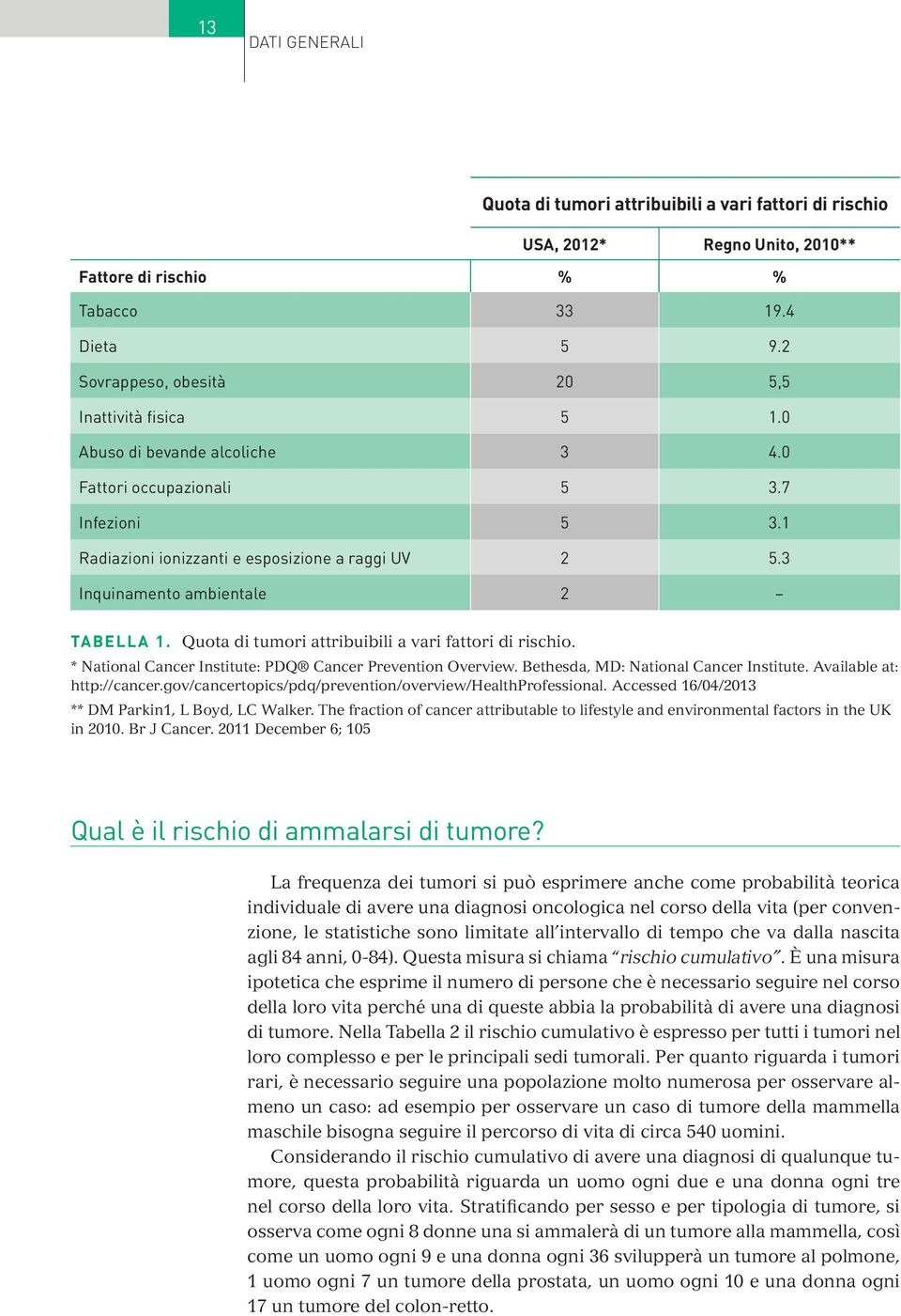 3 inquinamento ambientale 2 TAbEllA 1. Quota di tumori attribuibili a vari fattori di rischio. * National Cancer Institute: PDQ Cancer Prevention Overview. Bethesda, MD: National Cancer Institute.