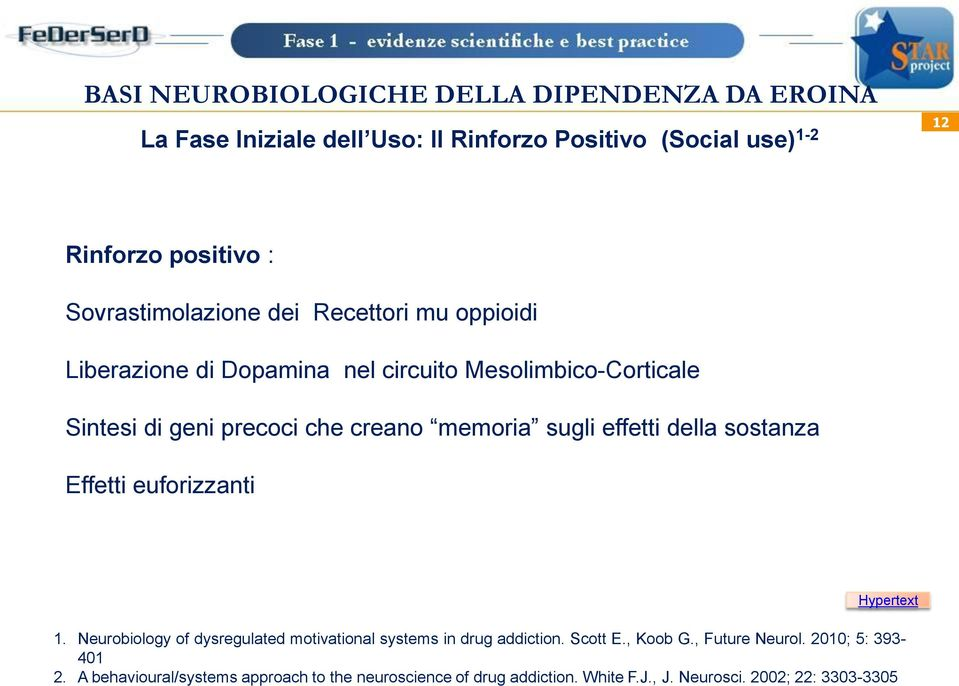 Effetti euforizzanti Hypertext 1. Neurobiology of dysregulated motivational systems in drug addiction. Scott E., Koob G.