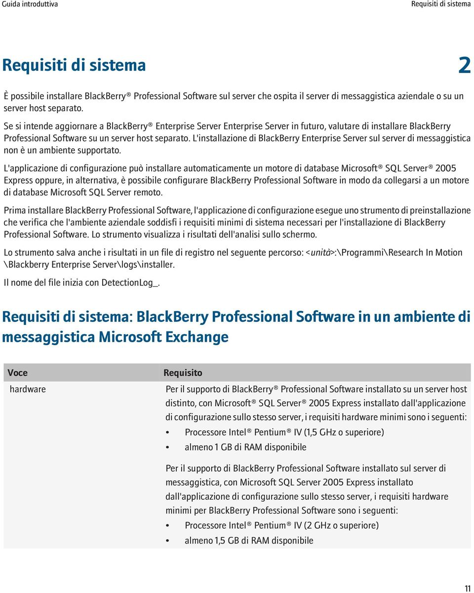 L'installazione di BlackBerry Enterprise Server sul server di messaggistica non è un ambiente supportato.