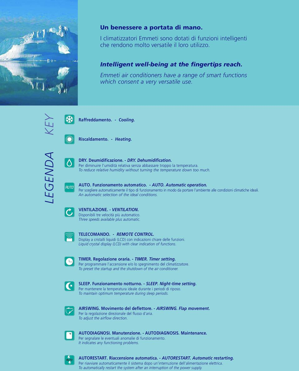 Dehumidification. Per diminuire l umidità relativa senza abbassare troppo la temperatura. To reduce relative humidity without turning the temperature down too much. UTO. Funzionamento automatico.