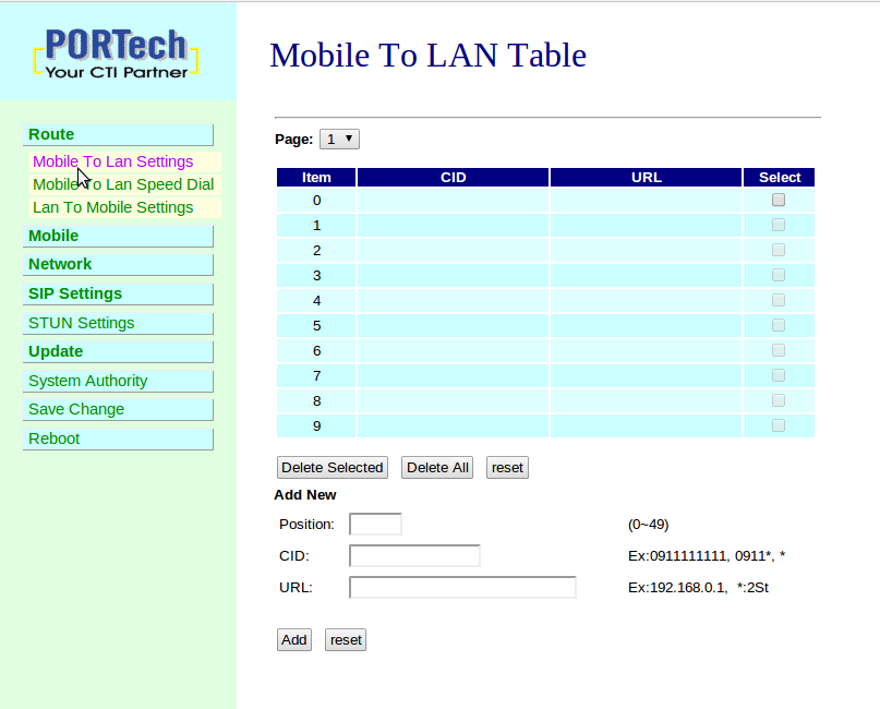 "Route Mobile To LAN Table Cliccare su Route"" > ""Mobile to Lan Settings""."