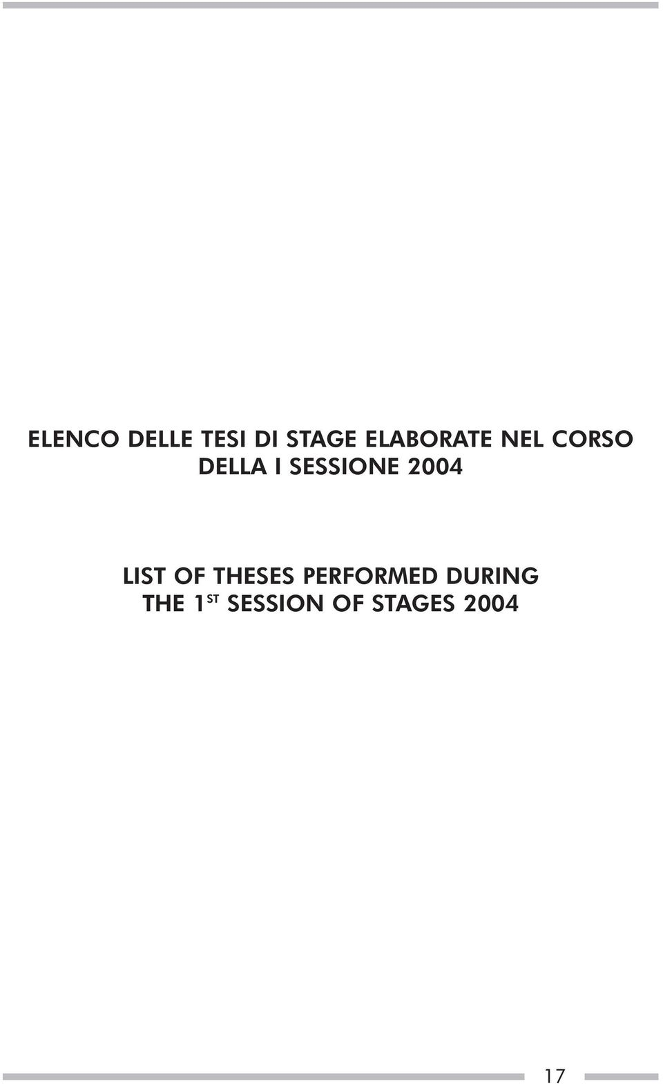 SESSIONE 2004 LIST OF THESES