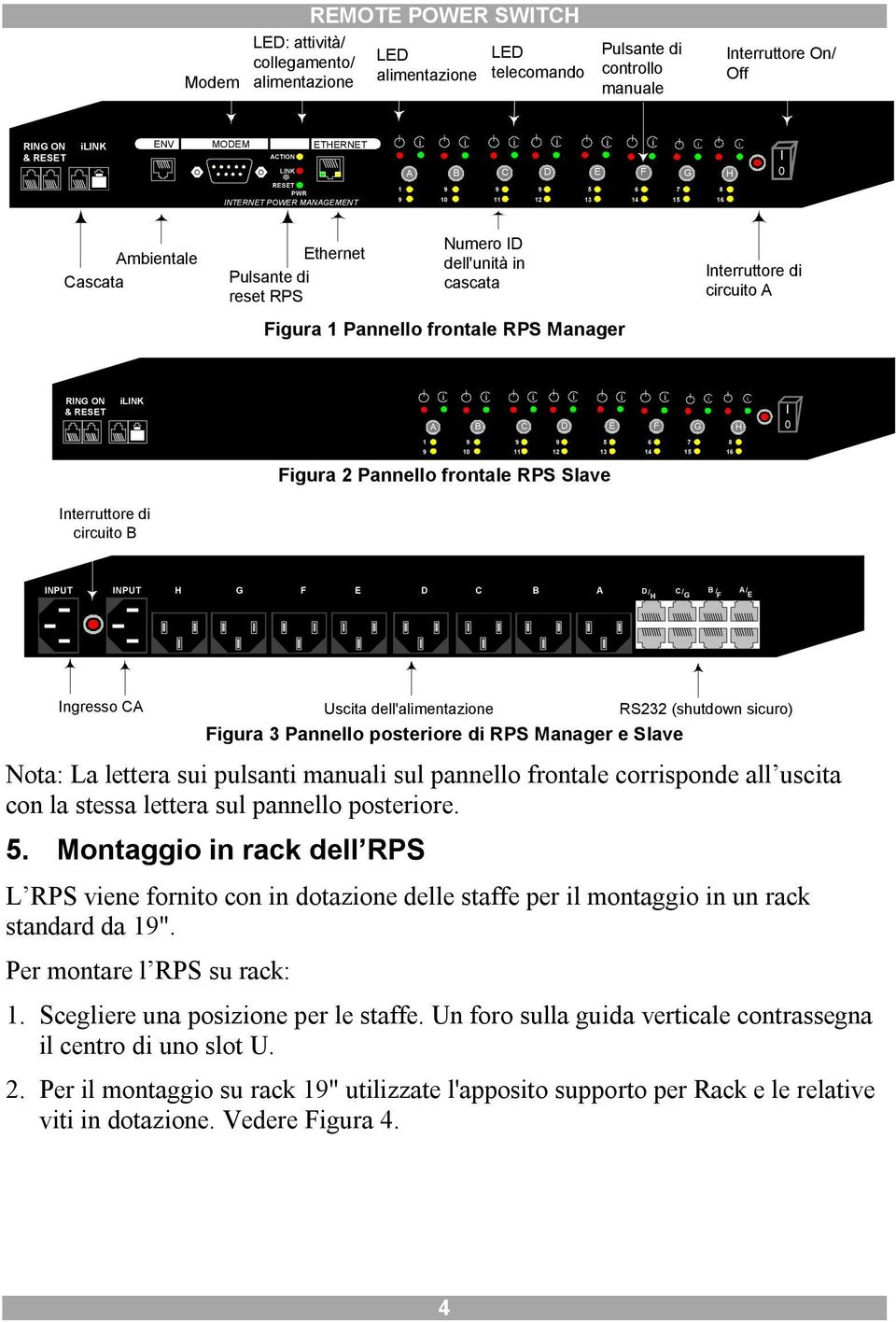 Interruttore d crcuto A RING ON & RESET LINK A B C D E F G H I 0 5 6 7 0 2 3 4 5 6 Fgura 2 Pannello frontale RPS Slave Interruttore d crcuto B INPUT INPUT H G F E D C B A D/ C/ B / A/ H G F E