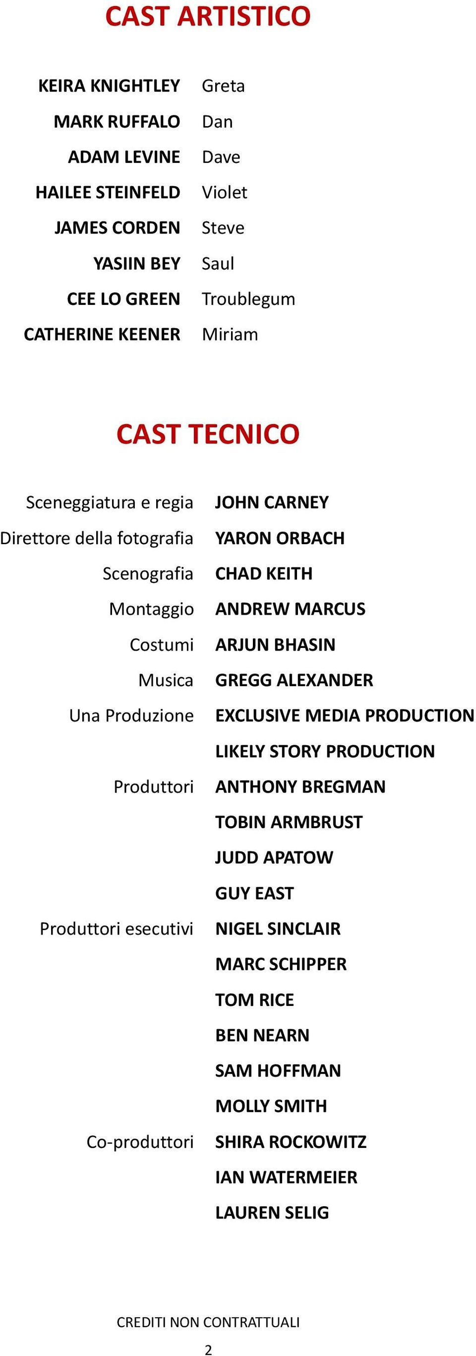 BHASIN Musica GREGG ALEXANDER Una Produzione EXCLUSIVE MEDIA PRODUCTION LIKELY STORY PRODUCTION Produttori ANTHONY BREGMAN TOBIN ARMBRUST JUDD APATOW GUY EAST